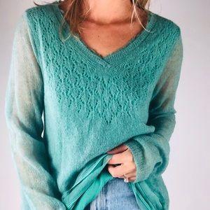 ANTHROPOLOGIE | Alpaca Wool Green V Neck Sweater L